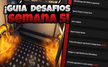 Fortnite GUÍA DE DESAFÍOS DE LA SEMANA 5 | Mapa Del Tesoro y Jetpack (Battle royale temporada 4)